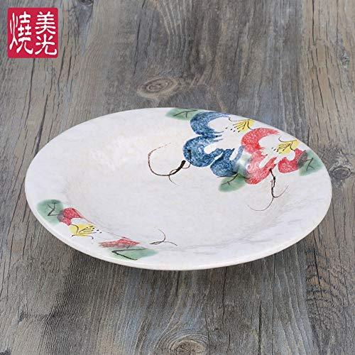 TapTheDinner Burriera Ceramica Cinese,Vintage novità Rustico Colorate Peonia Fiori 8 Pollici Round...