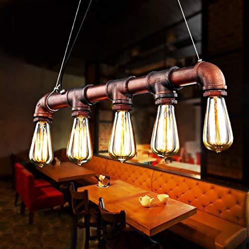 Glighone Wasserrohr Lampe Rohr Vintage Pendelleuchte Hängelampe 5 Lichter E27 Sockel Kupfer-Finish