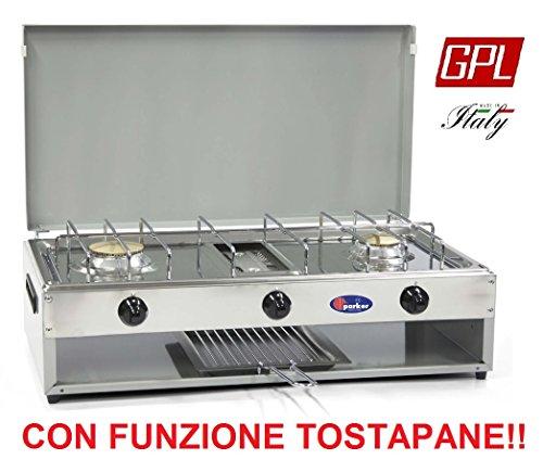 FORNELLO DA TAVOLO PARKER 2 FUOCHI CON PIANO IN ACCIAIO DOTATO DI TOSTAPANE ALIMENTAZIONE GPL (GAS...