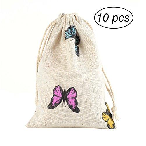 OUNONA Bolsas de regalo bolsa de la boda rústica favores bolsas bolsas de joyería (Patrón de Mariposa) - 10 Piezas