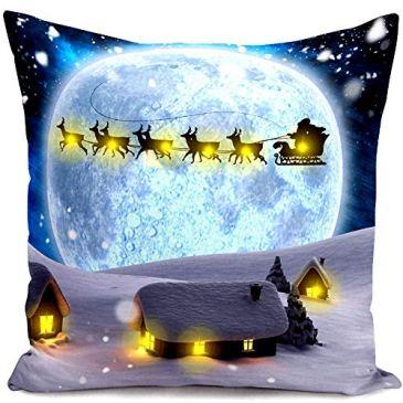 DAYOLY LED Lumineuse Housse de Coussin pour Decoration Noel Salon Chambre Voiture 10-LEDs 45 * 45cm