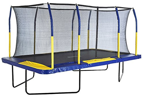 The Upper Bounce Easy Assemble Spacious Rectangular Trampoline with Fiber Flex Enclosure Feature is definitely one of the best trampolines for kids. Upper Bounce for certain put emphasis on the construction and design of this trampoline, giving it top-of-range features. The trampoline is also huge 15ft and with a great weight limit of more than 200kgs. This is what you want for the entire family to have fun outdoors. If money is no object and you have enough space for a large trampoline, this is one you should  definitely be going for. Well made overall.