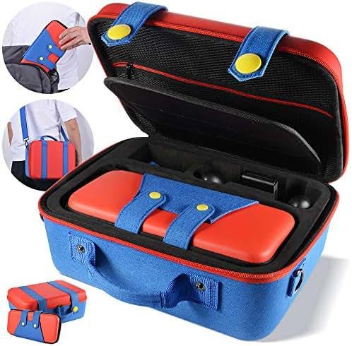 Aufbewahrungskoffer für Nintendo Switch, tragbare Reiseschutzkits mit 2 Hartschalentaschen, integrierte Tragetasche, großer Aufbewahrungsraum, kompatibel mit Nintendo Switch-Konsole und Zubehör
