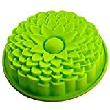 Philna12 1pc Green Sunflower Bread Pie Flan Tart Birthday Party Cake Silicone Mold Pan