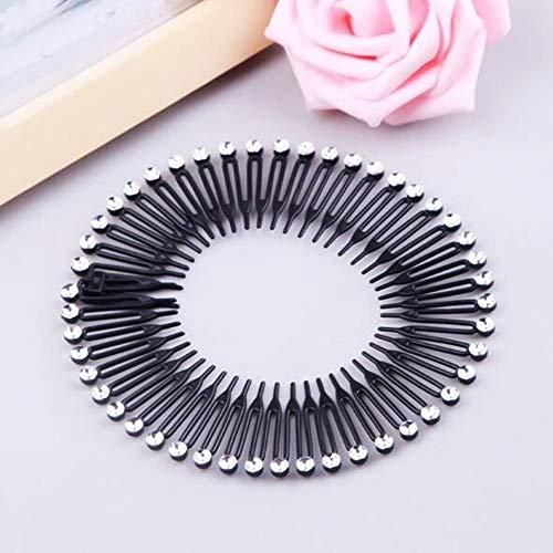 HITSAN INCORPORATION 1PC Plastic Full Circle Stretch Diamond Flexible Comb Teeth Headband Hair Band Clip Face Wash Fixed Hair Accessories Beauty Tool 2 black