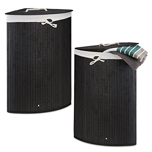 2 x Eckwäschekorb im Set, Wäschetrennsystem aus Bambus, Wäschesammler mit herausnehmbarem Wäschesack, je 64 L, schwarz