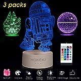 HOKEKI Lampada da notte a LED 3D, lampade star wars, lampade da comodino star wars, 16 colori a LED dimmerabile con telecomandosipossono per Home Decor, Kids, fanaticodistarwars (3 packs)