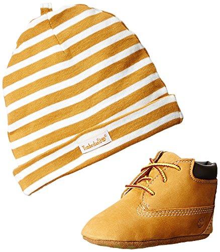 Timberland Crib Bootie with hat, Scarpe prima infanzia e cappello , Giallo (Wheat), 14.5 EU