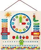 Lerntafel aus Holz mit Motiven von der kleinen Raupe Nimmersatt, erklärt spielend das Datum, Jahreszeiten und die Uhrzeit mit drehbaren Zeigern auf englischer Sprache, geeignet für Kinder ab 3 Jahren