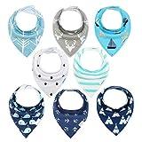 Baby Dreieckstuch Junge/Mädchen Lätzchen 8er Halstücher Set Baumwolle Spucktuch mit Druckknöpfen von YOOFOSS MEHRWEG