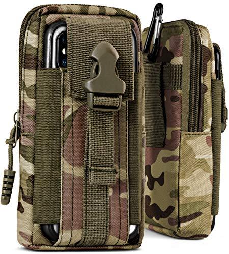 ONEFLOW® Multifunktionale Outdoor Handy-Tasche aus Oxford Nylon für Samsung A + J Reihe | Universal - mit Gürtel-Halter und Karabiner, Camo-Grün (Camouflage)