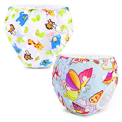 Riutilizzabile Pannolini da nuoto (Confezione da 2), Costume Pannolino Lavabili, Impermeabile Pannolino Piscina (0-3 anni), tema dello ZOO e farfalla