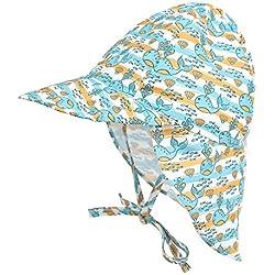 LACOFIA Sombrero de Playa de protección Solar para bebé Gorro de Verano de Solapa Ajustable Super Suave para niños Ballena 6-18 Meses