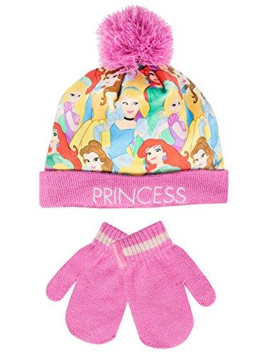 Principesse Disney - Set di cappelli e guanti del ragazze - Disney Princess - 2 - 4 Anni