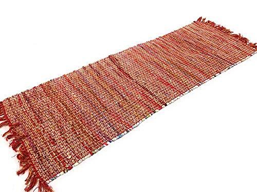Second Nature Online Spesso Cotone Punto Croce Rosso Tappeto Runner 70cm x 200cm