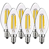 E14 LED Filament Bulbs 4W, 400LM 2700K Soft White Non-dimmable 40W Equivalent C35 Small Edison Screw (SES) Candle Light Bulbs, 6-Pack