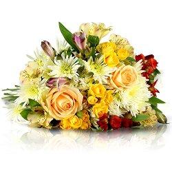 floristikvergleich.de Blumenstrauß Frühlingstraum | Entworfen von der Europameisterin | Gratis-Grußkarte & Geschenkverpackung