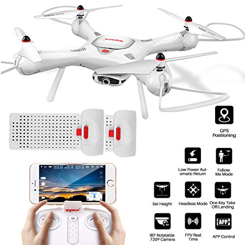 Syma X25Pro RC Drone with Adjustable Wi-Fi 720P HD Camera, GPS Return Home, Altitude Hold, Follow Me RC Quadcopter, 2 Battery (White)
