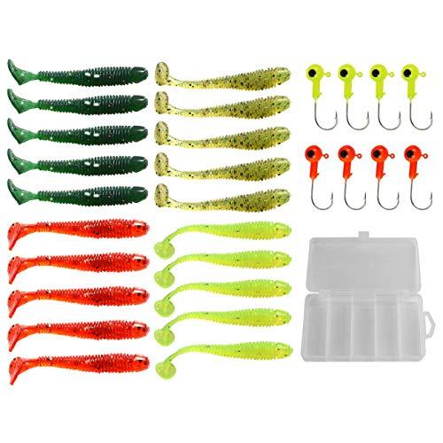 YYYY Kit di Esche Artificiali di Pesca 20 Esche Morbide + 8 Teste Piombate