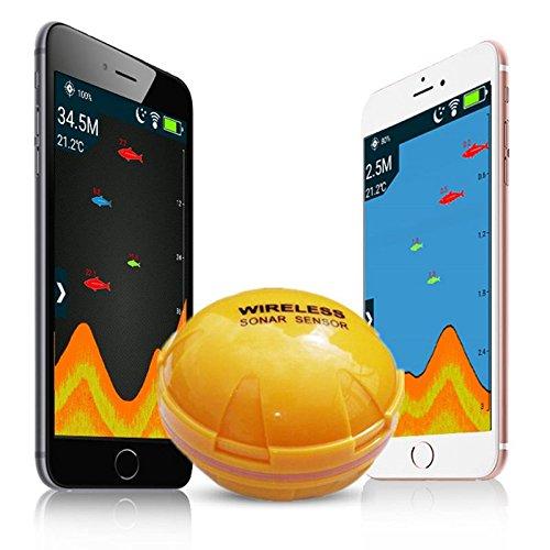 SODIAL cercatore di pesci del telefono mobile Wireless Sonar Fish Finder Profondita' Sea Lake Fish Rileva iOS App Android findfish smart ecoscandaglio sonar