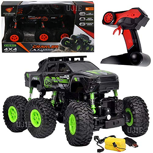 UJIE® 1:18 Scale 6 Wheels 2.4GHz High Speed 4WD Remote Control Rock Crawler Car (Green)