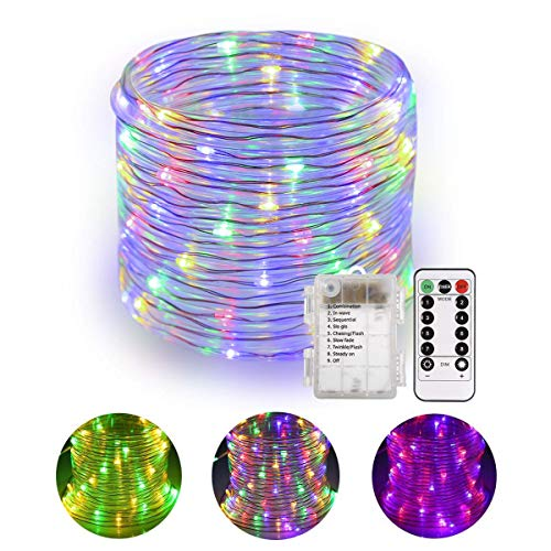 Tubo luminoso! B-right Tubo led luminoso 14M 120 LED con telecomando, tubo a batteria Multicolore, 8 modalità d'illuminazione, IP67 con funzione di memoria per Natale, Casa, Matrimonio ecc.