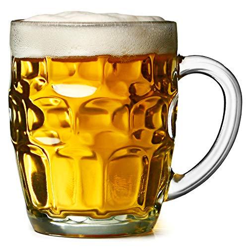 The Great British Pint dimple mug–Set di 4boccali di vetro, in confezione regalo, ideale come regalo birra
