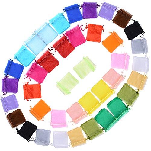 (10 * 12cm) 100 pz 20 Colori Misti Sacchetti Colorati Bustine Buste in Organza Regalo Bomboniere per Matrimonio Festa Confezione Gioielli