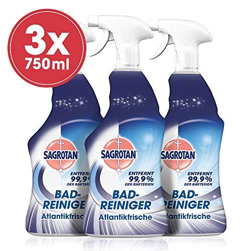 Sagrotan Bad-Reiniger Atlantikfrische – Desinfektionsreiniger für zuverlässige Hygiene im Badezimmer – 3 x 750 ml Sprühflasche mit neuem Sprühkopf im Vorteilspack