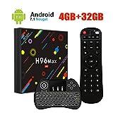 [2019 Version] UKSoku H96 Max TV BOX Android 7.1 RK3328 Quad-Core 64bit 4GB DDR3 32GB EMMC 4K Ultra HD Smart TV Box Support 2.4G/5G Dual Band WIFI 100M LAN 3D H.265 With Wireless Mini Backlit Keyboard