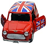 Mini Cooper Model (Red) with Union Jack Top Made of Die Cast Metal and Plastic Parts, Pull Back & Go Action Toy - 384R by Welly
