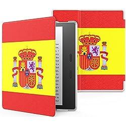 MoKo Funda Para Nuevo Kindle Oasis (9 generación, versión de 2017) - Ultra Delgada Ligera Smart-shell Soporte Cover Case para Amazon All New Kindle Oasis E-reader funda, Bandera de España