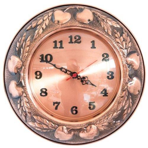 Orologio da Parete in Rame Lucido Made in Italy con Decorazione di Frutta