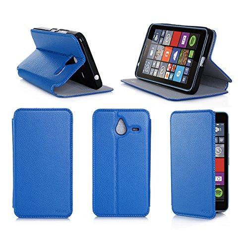 Blu Custodia Pelle Ultra Slim per Microsoft Lumia 640 XL 4G smartphone - Flip Case Funda Cover...