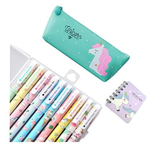 Unicorno Penne,SmileStar 10pcs Unicorno Penne di Colori e 1pcs Astuccio e 1pcs Unicorno Taccuino per...