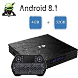 2019 Newest Android TV Box , Android 8.1 Quad-Core 64 Bits Google Internet TV Box 4GB/32GB Support Bluetooth 4.1 2.4G WIFI 4K H.265 3D Set Top Boxes with Mini Wireless Backlit Keyboard