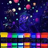 neon nights 2-IN-1 Nachleuchtende Glow Farben   Glow in The Dark Farbe   Phosphoreszierende Farbe für knalligen Leuchteffekt   8 x 20 ml Leuchtfarben Set   Ideal für Kunst und DIY-Projekte
