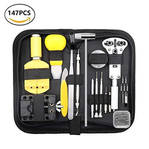 Qimh, kit professionale di 147 utensili per la riparazione di orologi, per anse a molla, aprire la...