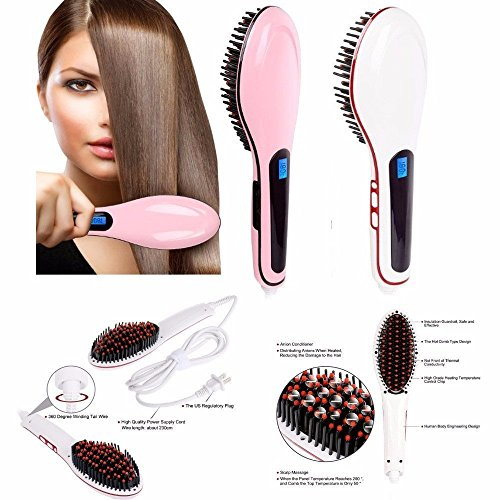 Vepson Electric LCD Hair Straightening Brush Comb Machine ,Multicolor