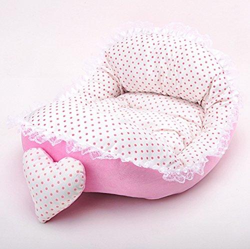 JinZhiCheng Cama de encaje cálido para mascotas, cama de princesa, cama suave, cama para perro (rosa)