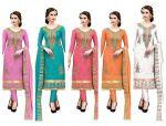 DnVeens Women Chanderi Cotton Hand Work Embroidery Unstitched Churidar Salwar Suit Material