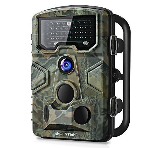 """apeman Wildkamera mit Bewegungsmelder 1080P 12MP 120° Weitwinkel Nachtsicht 20 m mit 2.4\"""" LCD Display IP66 Wasserdichtes Gehäuse für die Jagd und Heimtraining Fotofalle, grün"""
