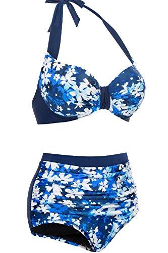 4af47e2ca0a18 CharmLeaks Women s Retro Floral High Waisted Two Piece Bikini Set ...