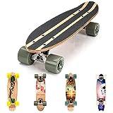 Monopatín patineta Retro Madera Skateboard Completo niños jóvenes Adultos Mejor Calidad Robusto Ligero Ruedas un Skateboard Madera (Summer Triangles)