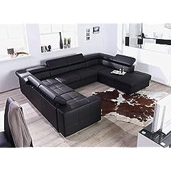 """XXL Wohnlandschaft, Couch """"CARY"""", U-Form, Lederoptik schwarz - Mit Schlaffunktion - Ottomane rechts"""
