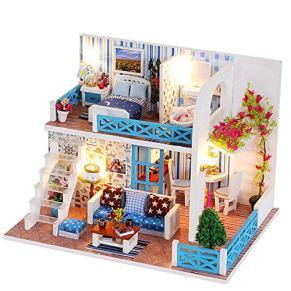 XuBa Dollhouse Miniature Diy Casa Kit Madera Cute habitaciones con LED de muebles y Cover Girl regalo juguete Villa modelo