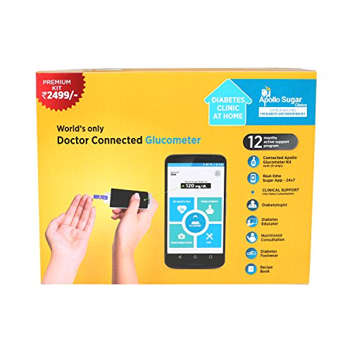 Apollo Sugar Smart Glucometer Premium Home Care Kit (Free Pair Of Health Socks & Video Consultation With Diabetic Experts)
