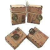 Awtlife - 100 cajas de caramelos de papel kraft natural, diseño vintage