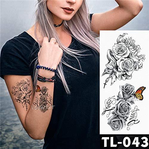 tzxdbh 3Pcs-Tattoo Sticker Rosa Scuro Fiore Braccio Spalla Tatuaggio Impermeabile Femminile Tatuaggio Body Art 3Pcs-