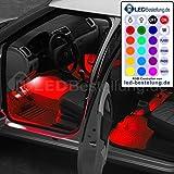 4er Set RGB LED KFZ Innenraumbeleuchtung Fussraumbeleuchtung komplett mit Anschlußkabel, Controller und Fernbedienung 4 Streifen Strips Auto 12V